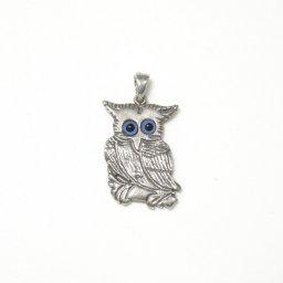 Owl greek silver pendant 1