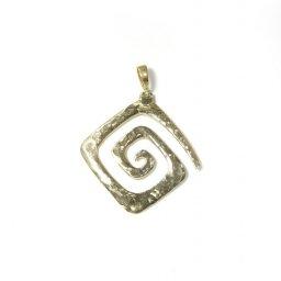 Greek Hammered Spiral Pendant Gold Plated 1