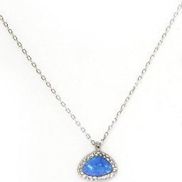 Blue opal pendant silver necklace with zircon 2