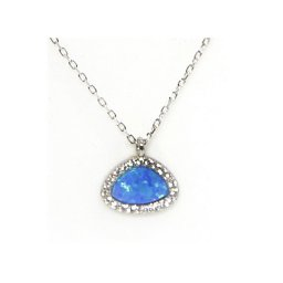 Blue opal pendant silver necklace with zircon 1