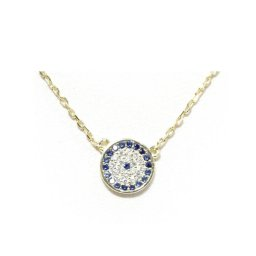 Evil eye gold plated silver necklace with zircon 1