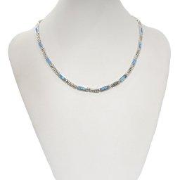 Silver necklace with Meander - Greek key design and opal gemstones  3