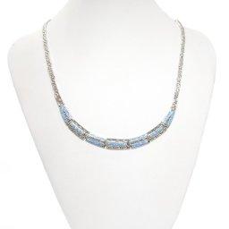 Meander - Greek key design and opal gemstones silver necklace 3