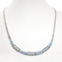 Meander - Greek key design and opal gemstones silver necklace 2