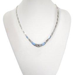 Greek key design - meander and opal gemstones silver necklace 3