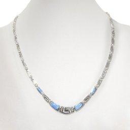 Greek key design - meander and opal gemstones silver necklace 2