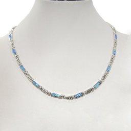 Silver necklace with Meander - Greek key design and opal gemstones  2