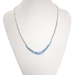 Blue opal silver necklace 3
