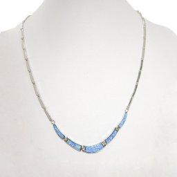 Blue opal silver necklace 2