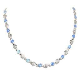 Greek spiral and opal gemstones silver necklace 1
