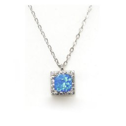 Pendant silver necklace with opal and zircon 1