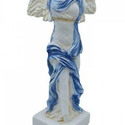 Nike of Samothrace greek alabaster statue with color and golden details 2