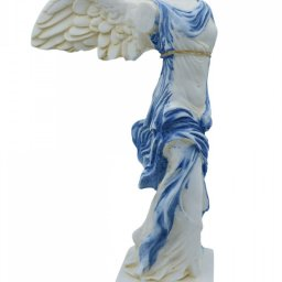 Nike of Samothrace greek alabaster statue with color and golden details 1