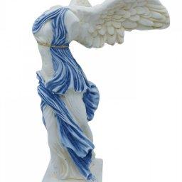 Nike of Samothrace greek alabaster statue with color and golden details 3