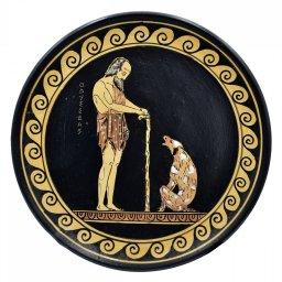 Greek ceramic plate depicting Odysseus with his dog, Argos (24cm) 1