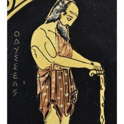 Greek ceramic plate depicting Odysseus with his dog, Argos (24cm) 2