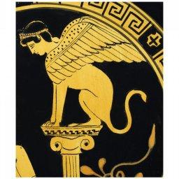 Classical Greek ceramic plate depicting Oedipus and Sphinx 3