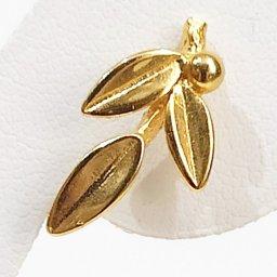 Greek olive branch gold plated silver stud - dangle earrings 2