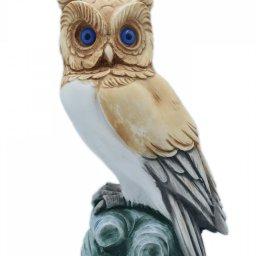 Owl medium alabaster statue with color, the symbol of wisdom 1