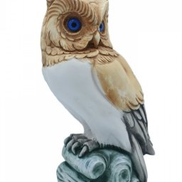 Owl medium alabaster statue with color, the symbol of wisdom 2