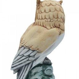 Owl medium alabaster statue with color, the symbol of wisdom 3