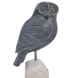 Owl green plaster statue, the symbol of wisdom (No.3) 1