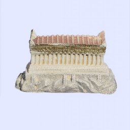 Medium plaster statue of Reconstracted Parthenon of Acropolis with golden details 1