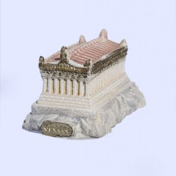 Medium plaster statue of Reconstracted Parthenon of Acropolis with golden details 2