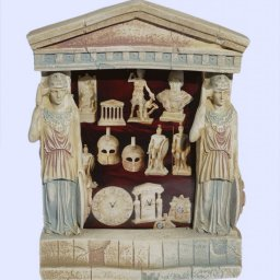 Greek picture frame with Athena goddess of wisdom and a pediment  1