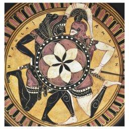 Greek ceramic plate depicting Hercules and Amazon 2