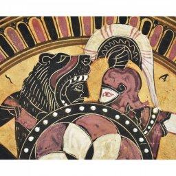 Greek ceramic plate depicting Hercules and Amazon 4