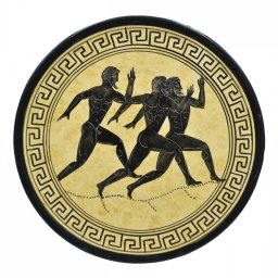 Greek ceramic plate depicting Marathon Runners 1
