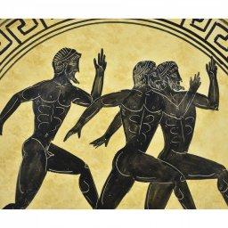 Greek ceramic plate depicting Marathon Runners 2