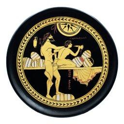 Classical Greek ceramic plate depicting Zeus and Ganymede 1