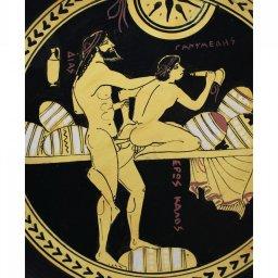 Classical Greek ceramic plate depicting Zeus and Ganymede 2
