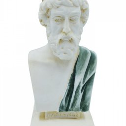 Plato greek alabaster bust statue with color and patina 1