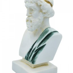 Plato greek alabaster bust statue with color and patina 2