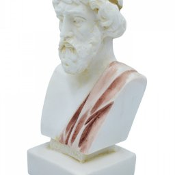 Plato greek alabaster bust statue with color 2