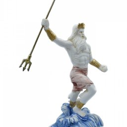 Greek alabaster statue of Poseidon with his trident 3