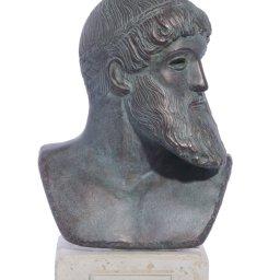 Poseidon green plaster bust sculpture 1