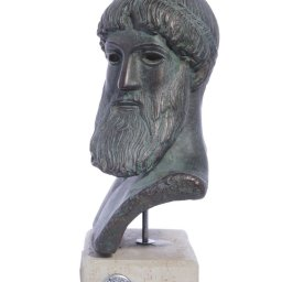 Poseidon green plaster bust sculpture 2
