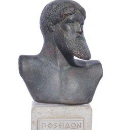 Poseidon green plaster bust statue 1