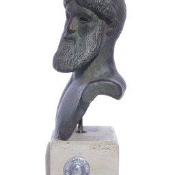 Poseidon green plaster bust statue 2
