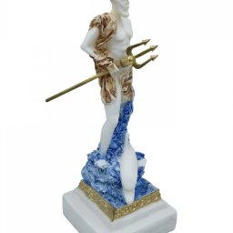 Poseidon, greek alabaster statue with color 3