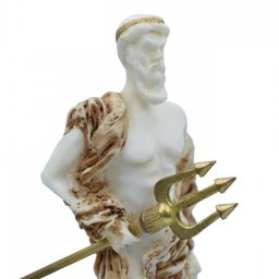 Poseidon, greek alabaster statue with color 4