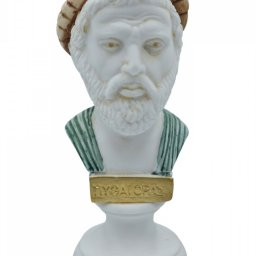 Pythagoras alabaster bust statue with color 1