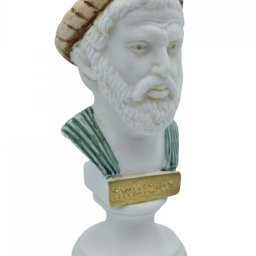 Pythagoras alabaster bust statue with color 2