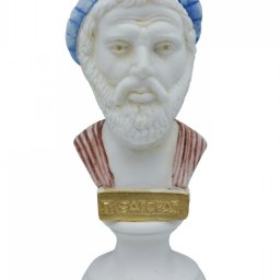 Pythagoras alabaster bust statue with color and patina 1