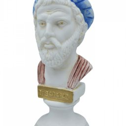 Pythagoras alabaster bust statue with color and patina 2