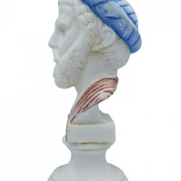 Pythagoras alabaster bust statue with color and patina 3